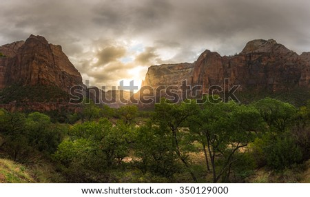 Amazing canyon with beautiful moment in Zion National Park - stock photo