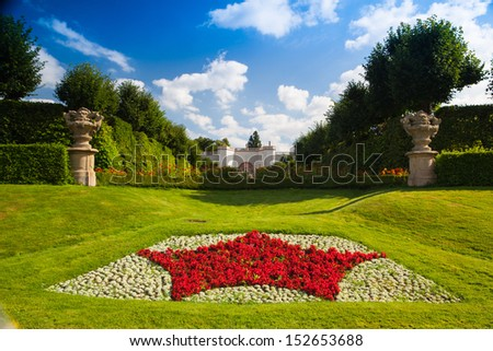 Amazing castle garden in Dobris in Czech Republic - stock photo