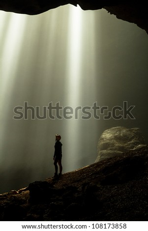 Amazing caving - stock photo