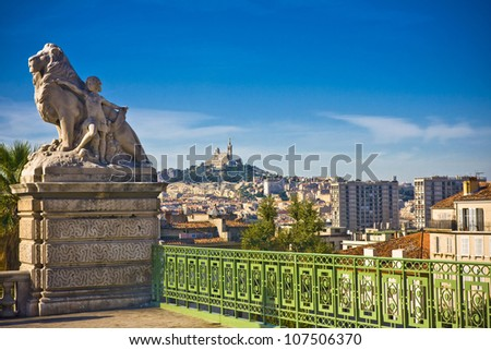 amazing city Marseille the view from la Gare, France - stock photo