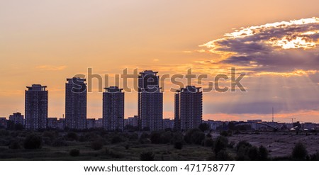 Amazing cityscape view from Vacaresti Natural Park Delta in Bucharest with skyscrapers in the sky background