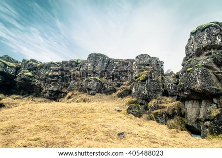 Amazing cliffs in Thingvellir national park in Iceland