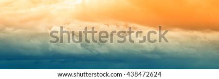 amazing cloudy sky panorama at sunset - stock photo