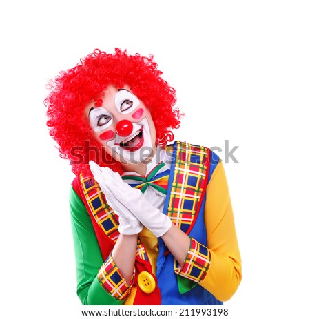 amazing clown looking up to the white background - stock photo