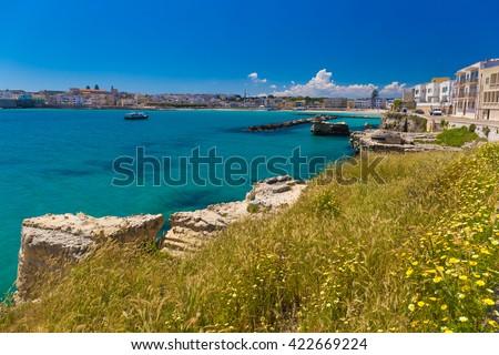 Amazing coastal sceneries of Otranto town, Salento peninsula, Puglia region, Italy - stock photo