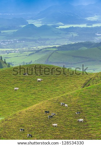 Amazing, colorful hills scenery at Sao Miguel Island. Azores, (San Miguel) - stock photo