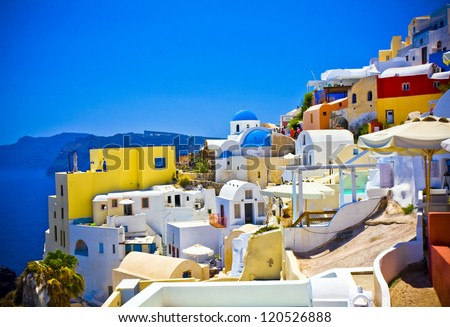 amazing colorful houses in Oia town Santorini, Greece - stock photo
