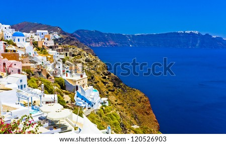 amazing colorful houses in Oia town Santorini, Greece