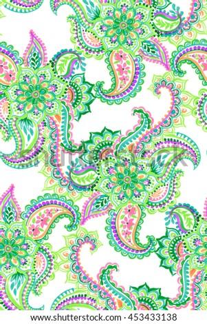 amazing colorful seamless paisley pattern, with beautiful hand drawn illustration. isolated elements on white background. - stock photo