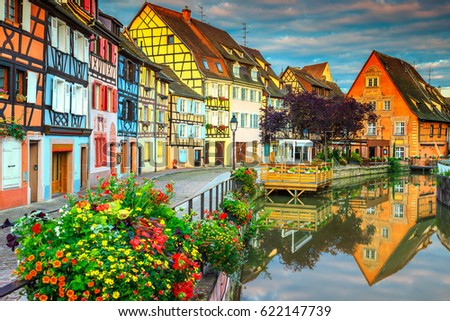 Amazing Colorful Traditional French Houses On The Side Of River Lauch In Petite Venise Colmar