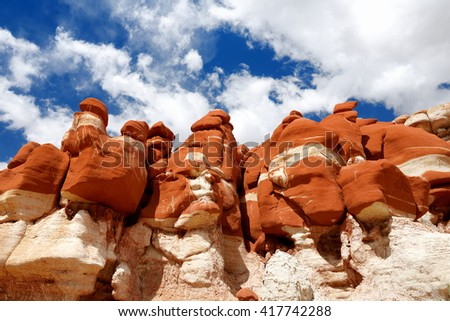 Amazing colors and shapes of sandstone formations of Blue Canyon in Hopi reservation, Arizona, USA - stock photo