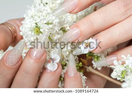 Amazing 3 D Flower Nail Art Design Stock Photo Edit Now 1089164726