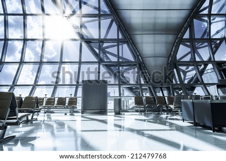 Amazing departure lounge at the airport - stock photo