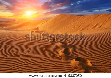 amazing desert view in sunset time - stock photo