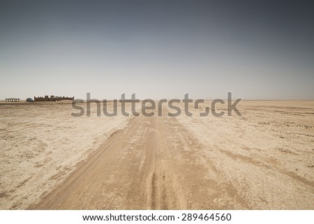 amazing dry lake sahara desert morocco - stock photo