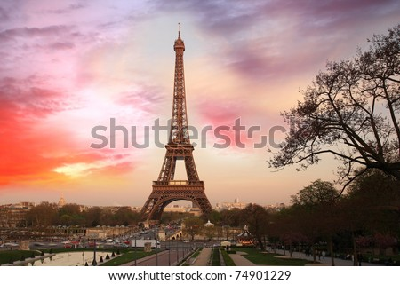 Amazing Eiffel Tower in the evening, Paris,  France