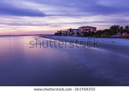 Amazing evening sky in Fort Myers Beach, Gulf of Mexico Coast, Florida. - stock photo