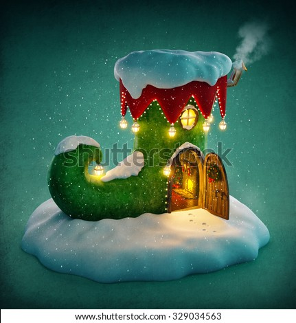 Amazing fairy house decorated at christmas in shape of elfs shoe with opened door and fireplace inside. Unusual christmas illustration.