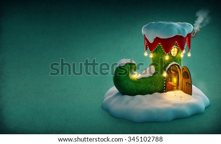Amazing fairy house decorated at christmas in shape of elfs shoe with opened door and fireplace inside. Unusual christmas illustration.  - stock photo