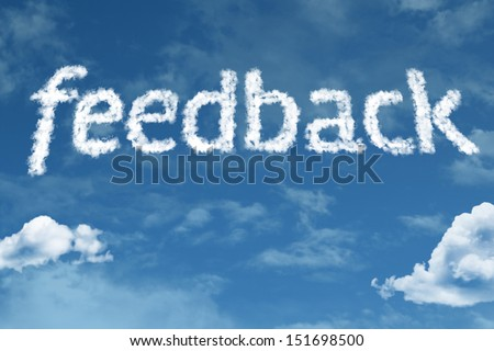 Amazing Feedback text on clouds - stock photo