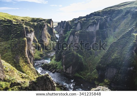 amazing Fjardrargljufur canyon in Iceland - stock photo