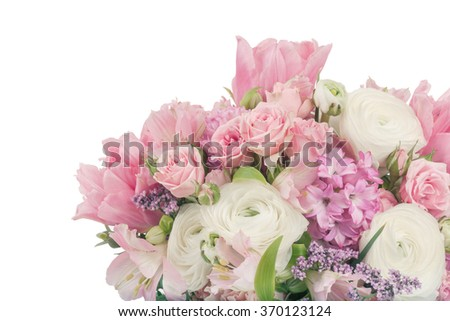 Amazing flower bouquet arrangement in pastel colors isolated on white - stock photo