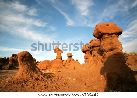 Amazing formations in Goblins Park, Utah - stock photo
