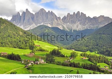 Amazing Funes valley in Dolomites, Italy - stock photo
