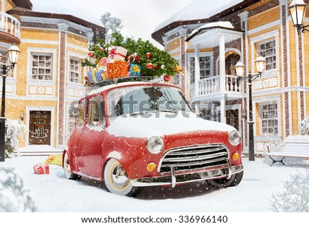 Amazing funny retro car with christmas tree and gift boxes on the roof in the cute city. Unusual christmas illustration - stock photo