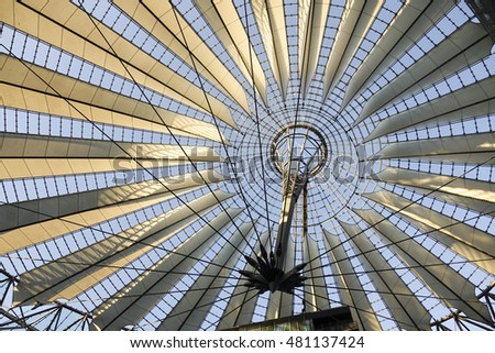 Amazing glass roof at Sony Center Berlin - BERLIN / GERMANY - AUGUST 31, 2016