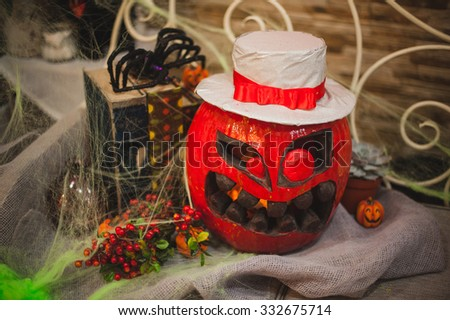 Amazing halloween pumpkin in red color, horror symbol, halloween is tradition season - stock photo