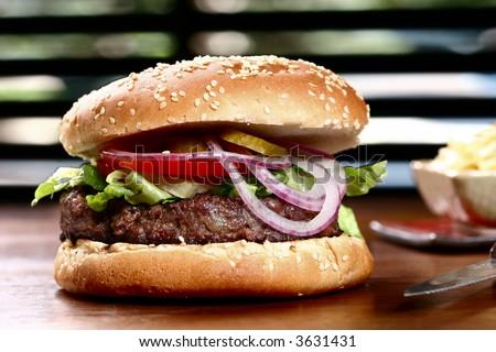 amazing hamburger - stock photo