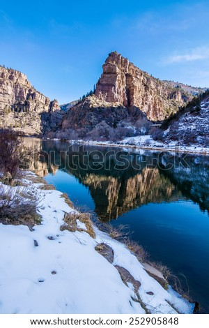 Amazing Hanging Lake hiking trail near Glenwood Springs, Colorado - stock photo