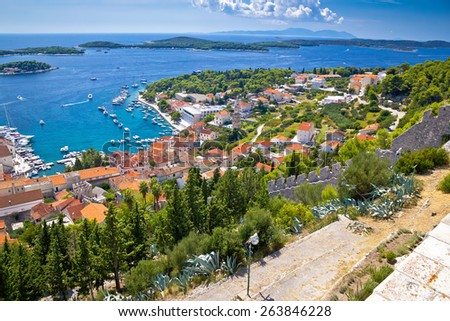 Amazing historic town of Hvar aerial view, with Paklenski islands sailing destination, Dalmatia, Croatia - stock photo