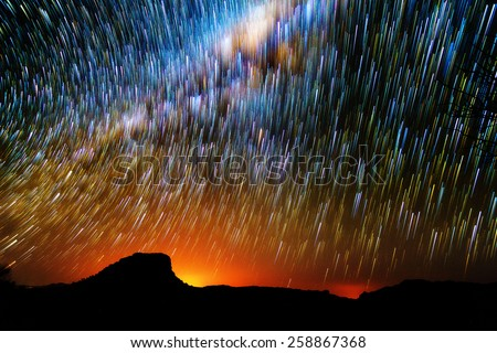 Amazing image of star trails and the milky way seen from Isalo, Madagascar - stock photo
