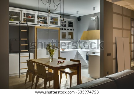 amazing kitchen in a modern style with gray walls white lockers and shelves with accessories amazing kitchen modern style gray walls stock photo 533974753      rh   shutterstock com