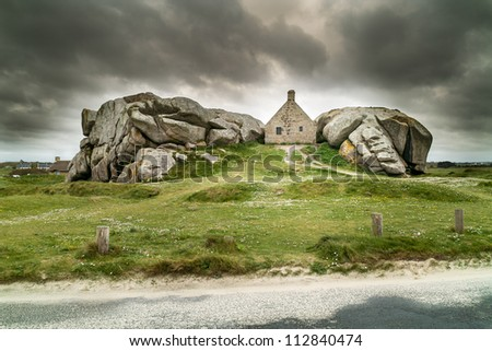 amazing landscape in brittany - stock photo