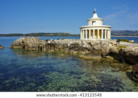 Amazing Landscape of Lighthouse of St. Theodore at Argostoli, Kefalonia, Ionian islands, Greece - stock photo