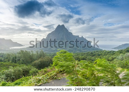 Amazing landscape of Tahiti, Polynesia. Mountains, forest and ocean. - stock photo