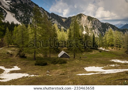 Amazing landscape of the Alps taken in Soca Valley,Slovenia, Tolmin  - stock photo