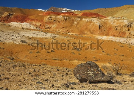 Amazing landscape of the desert at the foot of the mountains
