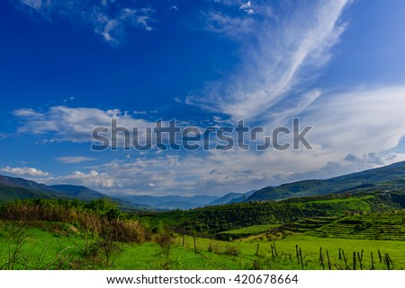 Amazing landscape with dramatic clouds, Armenia - stock photo