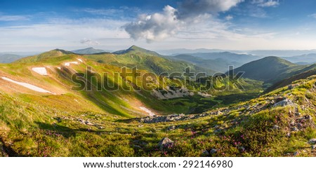 Amazing landscape with flowers in mountain and majestic sky - stock photo