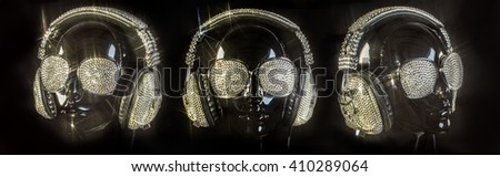 amazing mannequin with crystal headphones and sunglasses  - stock photo