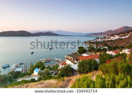Amazing Mirabello Bay view on Crete, Greece - stock photo