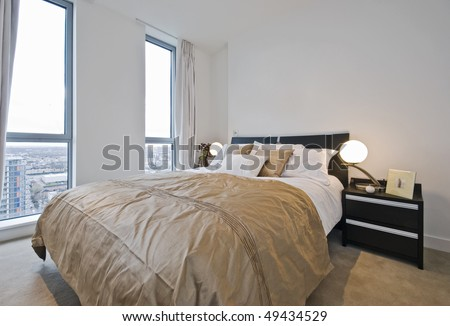 amazing modern bedroom detail with luxurious accessory - stock photo