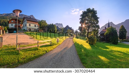 Amazing morning in the Resslern village near the Grundlsee lake. Alps, Austria, Europe. - stock photo