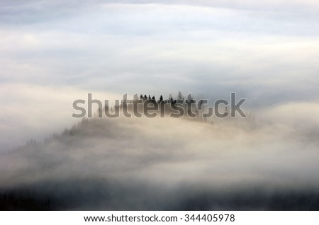 Amazing mountain landscape with dense fog. Carpathian Mountains - stock photo