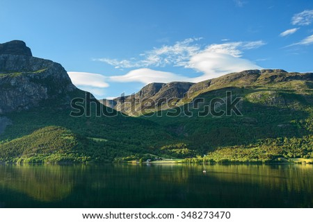 Amazing nature in Norway: mountain lake in summer day