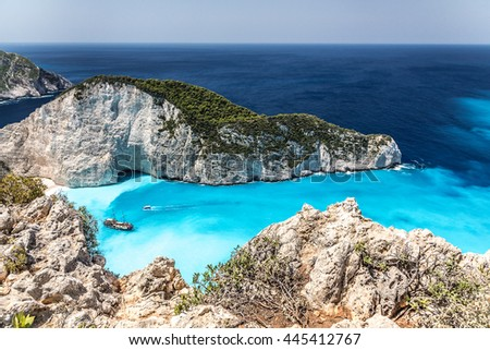 Amazing Navagio beach (shipwreck beach) on Zakynthos. Ionian island in Greece
